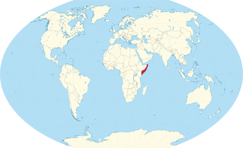 Somalia on a world map