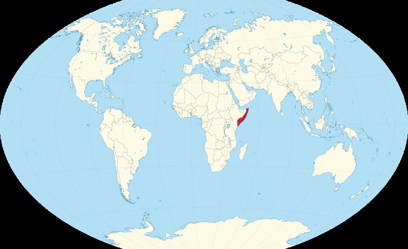 Somalia on a world map